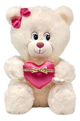 Мягкая игрушка LAVA Мишка с бантиком и сердцем музыкальный
