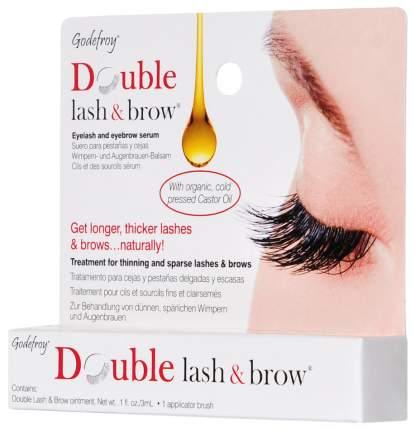 Средство для роста ресниц и бровей Godefroy Double Lash & Brow Organic Oil 3 мл