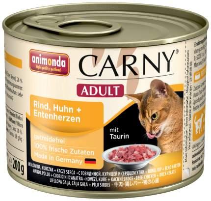 Консервы для кошек Animonda Carny Adult, с говядиной, курицей и сердцем утки, 200г