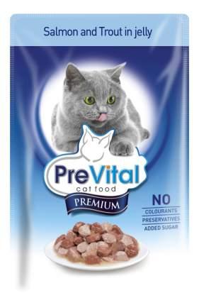 Влажный корм для кошек PreVital Premium, лосось, рыба, 100г