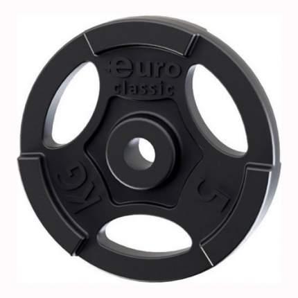 Диск для штанги Euroclassic d-26-5 5 кг, 26 мм