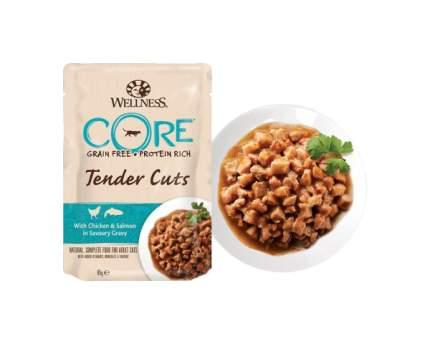 Влажный корм для кошек Wellness CORE Tender Cuts, курица и лосось в пикантном соусе, 85г