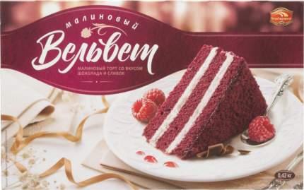 Торт малиновый вельвет Черемушки со вкусом шоколада и сливок 420 г