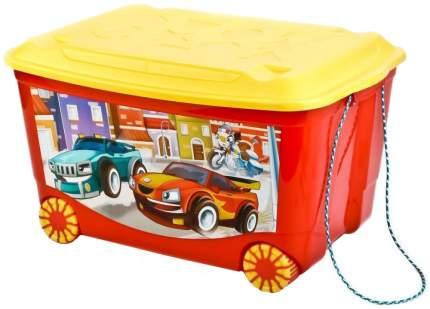 Ящик для игрушек Бытпласт красный с аппликацией, на колесах 58x39x33