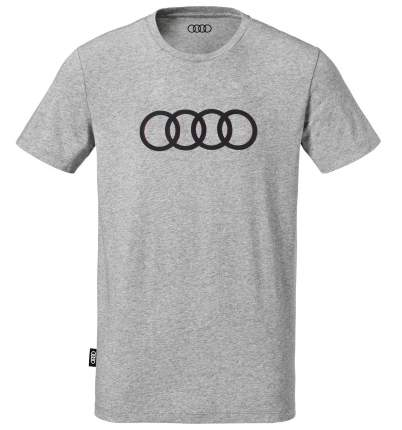 Мужская футболка Audi Rings Mens T-Shirt, Grey, артикул 3131701812