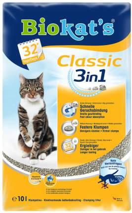 Наполнитель для кошачьего туалета Biokat's Classic 3 in 1, комкующийся, без запаха, 10л