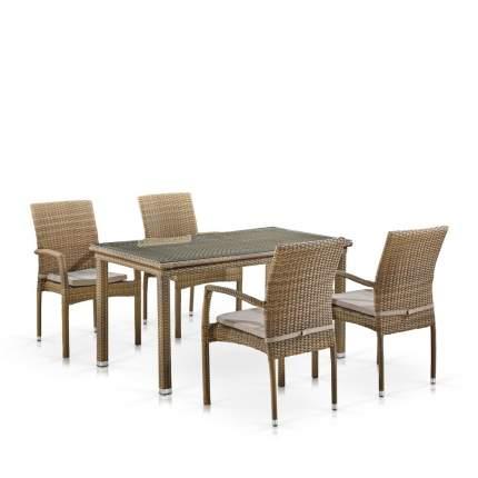 Комплект плетеной мебели Afina T256B/Y379B-W65 Light Brown (4+1)