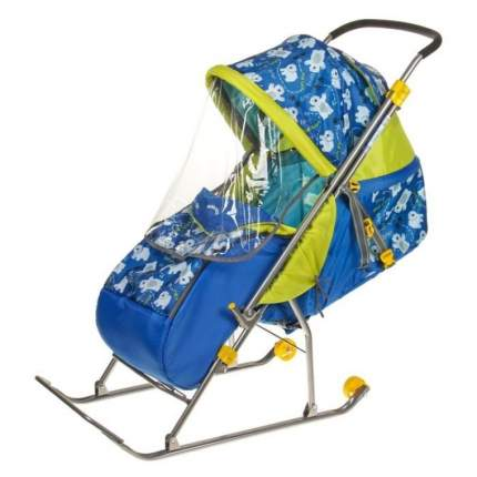 Санки-коляска Baby Care Умка 3-1/2 принт синий с медвежатами, со светоотражателями