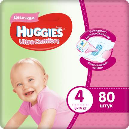 Подгузники Huggies Ultra Comfort для девочек 4 (8-14 кг), 80 шт.