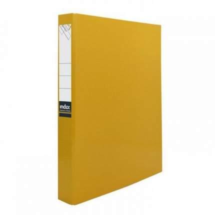 Папка-файл Index на 2 кольцах, лам., Желтая, диаметр 30мм