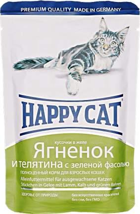 Паучи Happy Cat нежные кусочки в желе для кошек 100 г (Ягненок, телятина и зеленая фасоль)