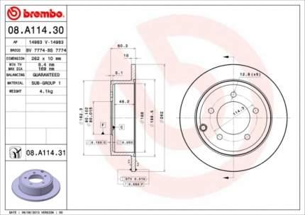 Тормозной диск brembo 08A11431