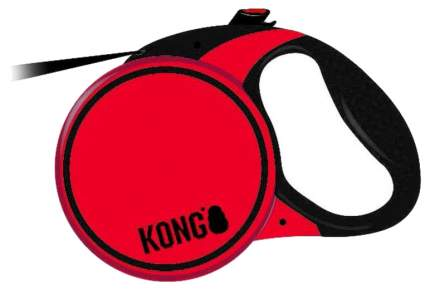 Рулетка для собак KONG Terrain M, лента, для средних собак до 30 кг 5 м, Красный