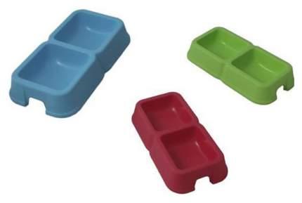 Двойная миска для кошек и собак MP-Bergamo, пластик, в ассортименте, 2 шт по 0,6 л