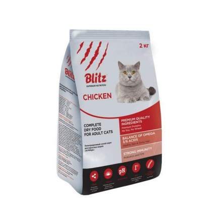 Сухой корм для кошек BLITZ, курица, 2кг