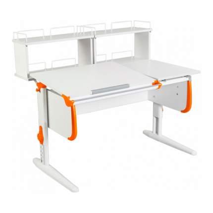 Парта Дэми СУТ-25-01Д2 WHITE DOUBLE со столешницей и приставками белый, оранжевый