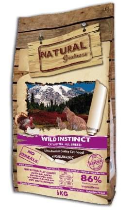 Сухой корм для кошек и котят Natural Greatness Wild Instinct, индейка, 0,6кг