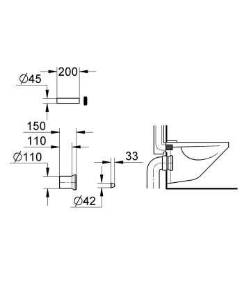Комплект впускного и смывного гарнитура GROHE для подвесного унитаза, Ø 110 мм