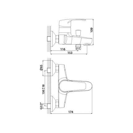 Смеситель для ванны Rossinka Silvermix F40-31 хром