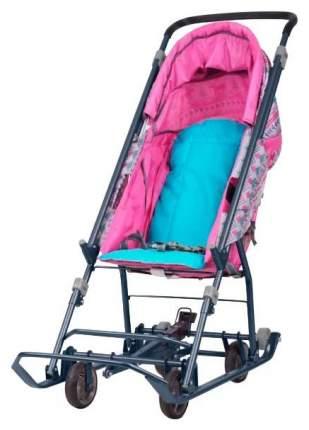 Cанки-коляска Nika Умка 3-1 Розовый вязанный