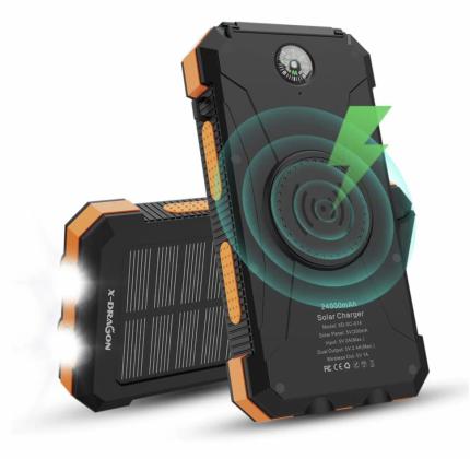 Водонепроницаемый внешний аккумулятор X-DRAGON на солнечной батарее, 24000 мАч