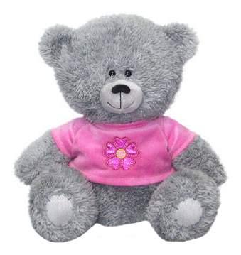 Мягкая игрушка LAVA Медвежонок в кофточке с цветком муз 21 см