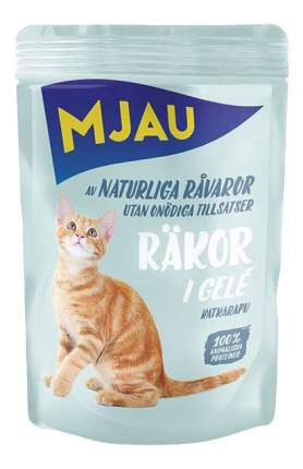 Влажный корм для кошек Mjau Chunks in Jelly, мясные кусочки в желе с креветками, 85г