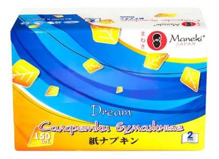 Бумажные салфетки Maneki dream белые 150 штук