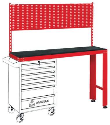 Верстак универсальный МАСТАК под тележку, задняя панель, красный 542-11500R