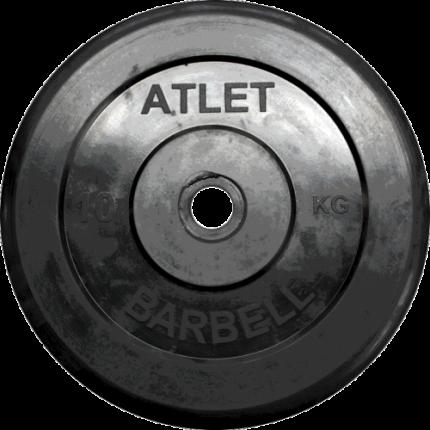 Блин обрезиненный MB Barbell Atlet 10 кг сталь 31 мм черный