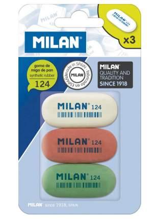 Набор овальных ластиков Milan «124» из синтетического каучука 3 шт в блистере