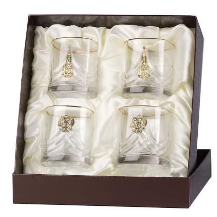 Набор бокалов для виски 4 шт. с накладками Герб и Спасская башня+Город Подарков/050202100