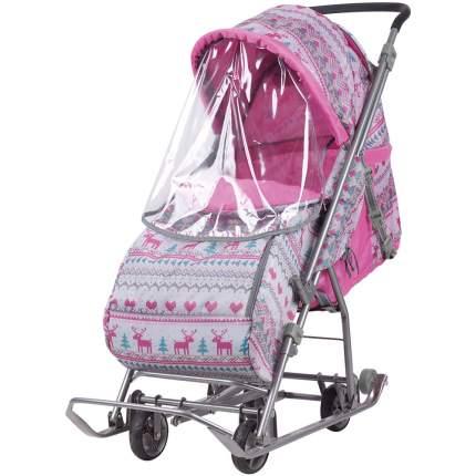 Санки-коляска Baby Care Умка 3-1/3 принт розовый вязаный, со светоотражателями