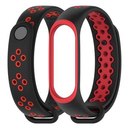 Ремешок перфориванный Mijobs Silocon Dual Color Sport для Mi Band 3/4 Strap Black-Red SD55