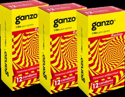 Презервативы Ganzo extase спайка 3 упаковки по 12 шт.