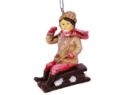 Елочная игрушка Hogewoning Мальчик на санках в красном шарфе 400246-061 7 см 1 шт.