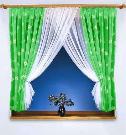 Классические шторы КаСЛ Romashki Цвет: Зеленый