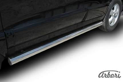 Защита порогов d76 с проступями Arbori серебр. для Hyundai SANTA-FE 2018-нв