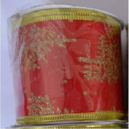 Лента декоративная Феникс Present золотые снежинки, 6,3x270 см