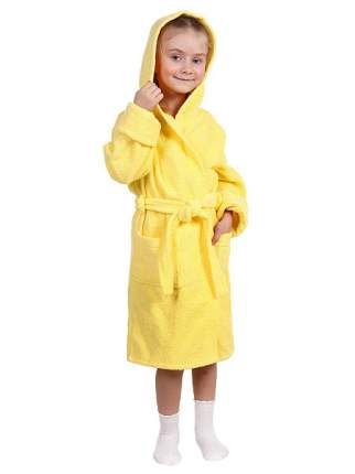 Халат Осьминожка с капюшоном махровый детский желтый 110 размер