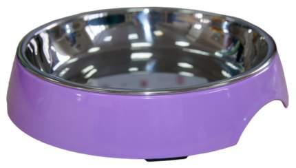 Одинарная миска для кошек и собак Super Design, металл, пластик, фиолетовый, 0.25 л