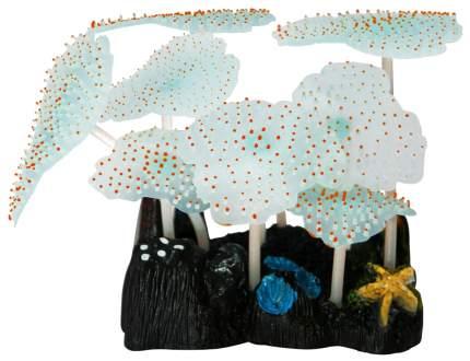 Декорация для аквариума JELLY-FISH Морской Гриб светящийся, силикон оранжевый 9,8х7,5х11см