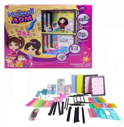 Модный дом ABtoys 2 в 1 в наборе с куклой и мебелью 150 деталей PT-00854