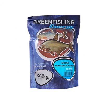 Прикормка зимняя готовая Green Fishing Energy Белая рыба Мотыль 0,5 кг