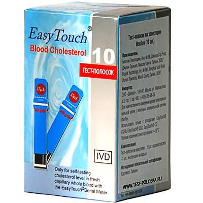 Тест-полоски Easy Touch Cholesterol для контроля уровня холестерина 10 шт.