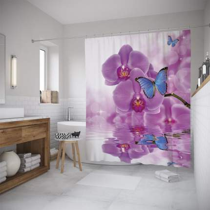 Штора для ванной JoyArty «Орхидеи и бабочка» 180x200