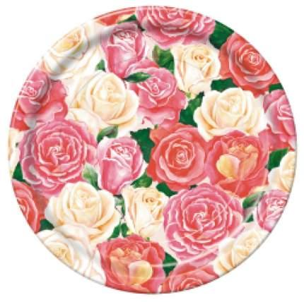 Тарелка картонная Bulgaree Green розовый букет d-23 см 10 шт
