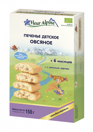Печенье детское Fleur Alpine Органик Овсяное, 6 мес., 150/6