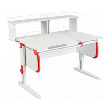 Парта Дэми СУТ-25-01Д2 WHITE DOUBLE со столешницей и приставками белый, красный