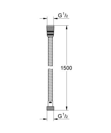 Душевой шланг GROHE Rotaflex металлический, 1500 мм, хром